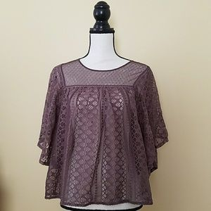 Lace Batwing Top